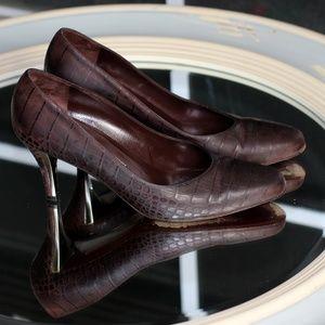 Salvatore Ferragamo Matted Croc Silver Plated Heel